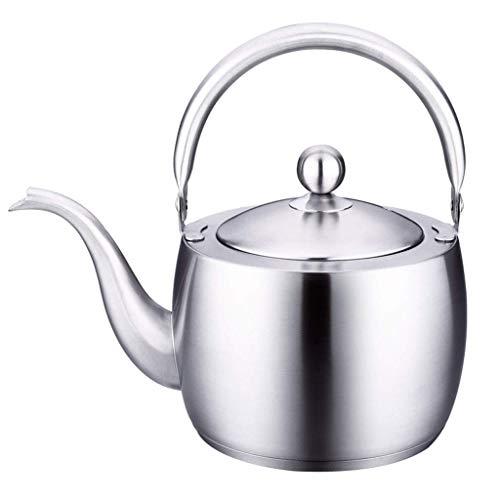 KFH Teekanne 304 Edelstahl Wasserkocher Kleine Wasserkocher Dicke Flache Kung Fu Teekanne Silber