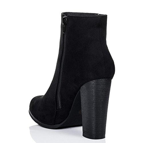 SPYLOVEBUY THORA Damen Blockabsatz Stiefeletten Schuhe Schwarz - Synthetik Wildleder