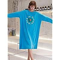 GIGIEroch Ropa de Dormir para Mujeres Más el tamaño de Manga Larga Impreso O Cuello cómodo camisón (Color : Azul, tamaño : Un tamaño)