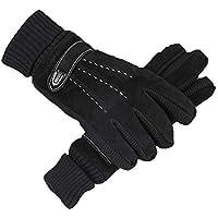 GUANTES XUERUI Hombres Invierno Al Aire Libre Ciclismo De Invierno Calor Espesamiento Pantalla Táctil Algodón (Color : Black2, Tamaño : One Size)