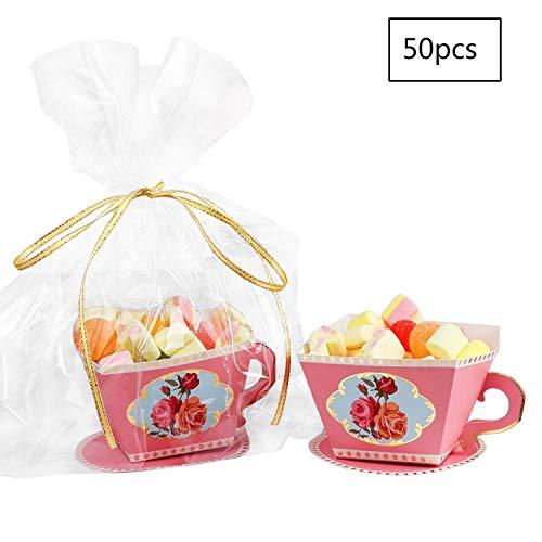 E-Goal 50 Stück / paket Mini Teetasse Form Hochzeit Gefälligkeiten Süßigkeitskästen Geschenk Box Party Favor Boxen mit Bändern für Hochzeit, Tee Zeit Party Dekorationen, Rosa