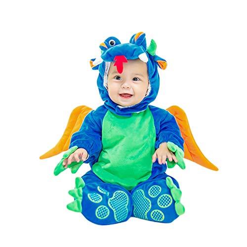 JEELINBORE Unisex Baby Tier Halloween Kostüme Plüsch Spielanzug Strampler Tieroutfit Warm Jumpsuit Winter Nachtwäsche (Blau Dinosaurier, 90CM)