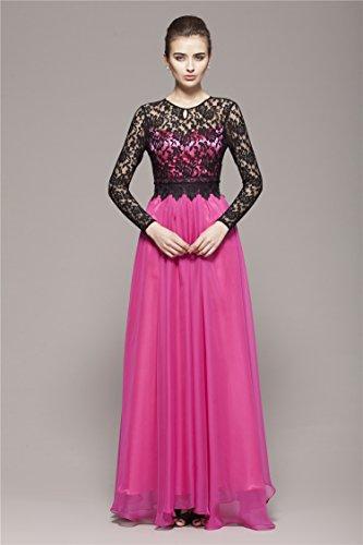 Beauty-Emily -  Vestito  - linea ad a - Collo a U  - Maniche lunghe  - Donna rosso rose