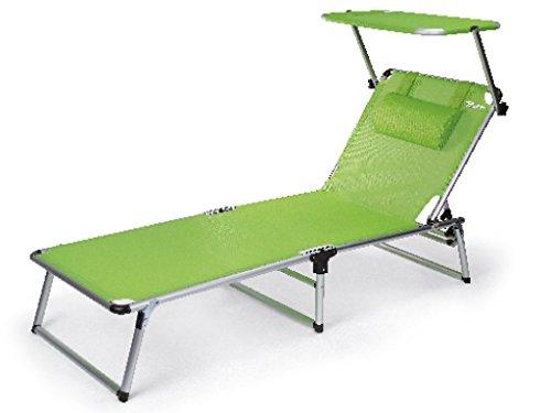 0 Bertoni Rambla Branda aus Textilene-Gewebe, Sonnenliege mit Sonnendach für Strand und Pool,...