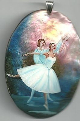 12.c. Pendentif De Nacre Russe Peint À La Main