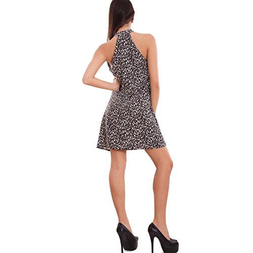Toocool - Vestito donna miniabito velato corto scollo vogatore fiocco fiori nuovo CJ-2212 Nero