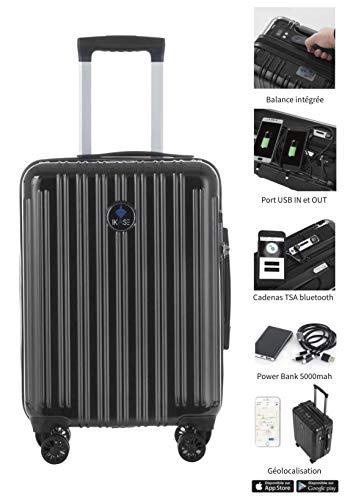 Ikase- Valise connectée avec pèse Bagage intégré, Verrouillage Bluetooth avec Smartphone, powerbank Amovible et Port USB in/Out pour Charger Votre Smartphone jusqu'à 3 Fois par Jour