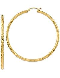 PriceRock 14K Gold Knife Edge Diamond Cut Hollow Hoop Earrings