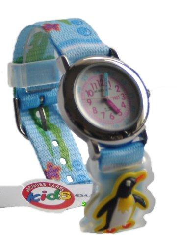 Jacques Farel Kinderuhr Armbanduhr Geschenkset Meer in kleinem Metallkoffer - Textilband mit Klettverschluss - mit 5 unterschiedlichen Aufsteckern