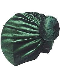 Gorro fetal de terciopelo suave anudado con turbante sólido anudado en la India Sombrero de terciopelo