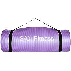 Esterilla de yoga de S/O® en 6 colores, 190 x 60 x 1,5 cm, esterilla para gimnasia, Pilates y fitness, sin sustancias nocivas y aislante, morado