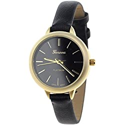 Women's Geneva Japanese Movement Stainless Steel Back Black Faux Leather Slim Band Watch