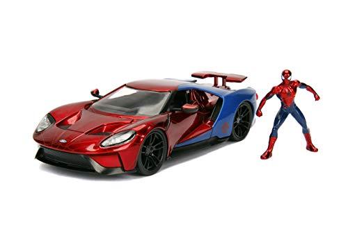 Jada Toys - 99725RB - Modell FORD GT 2017 mit Figur Spider Man 1/24 Die-Cast Marvel - Rot/Blau -