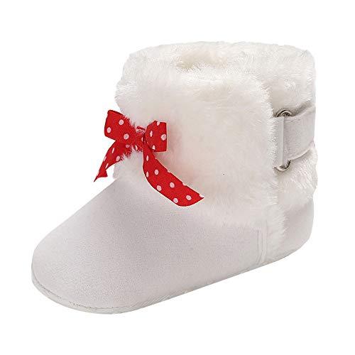 Heligen Babyschuhe Kleinkind Sneaker Baby Mädchen Hook Loop Soft Booties Bogen Reine Farbe Schnee Stiefel Kleinkind warme Schuhehe