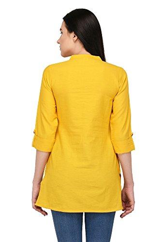 Pistaa's Women's Cotton Embroidery Short Top Kurti (Yellow, 44 - XL)