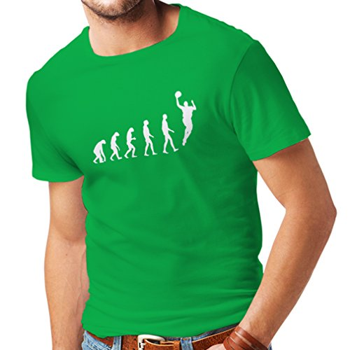 T-shirt da uomo Evolution Basketball (X-Large Verde Bianco)