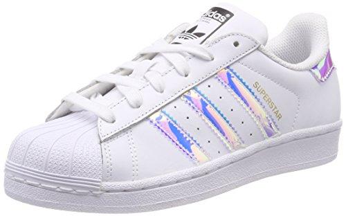 adidas Unisex-Kinder Superstar J Gymnastikschuhe Weiß FTWR White/Metallic Silver-SLD, 40 EU (Junioren Weißen Socken)