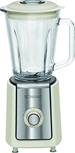 Bomann UM 1569 CB Batidora de Vaso, jarra cristal 1.5 litros, 2 velocidades + turbo, color crema, 600W 600 W, Vidrio, Plateado