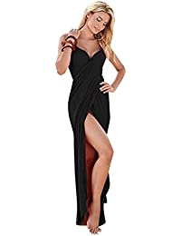 Boldgal Women's Polyester Swimwear Swim Spaghetti Strap Sarong (Black, Medium)