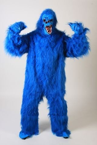 Foxxeo 10269 | Gorillakostüm blaues Kostüm Gorilla Tierkostüm Tier blau Affenkostüm King blauer Affe Affen Gorillas Kong Gr. L - XL, Größe:XL