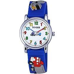 Zeiger Kinderuhr Auto LKW Kinder Armbanduhren Blau Sportlich Analog Quarz Lernuhr KW043