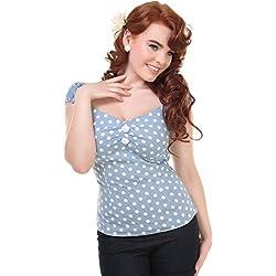 Collectif - Camisas - para mujer multicolor Hellblau mit weißen Dots