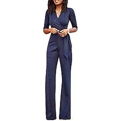 Combinaison Femme Élégant Longues Casua Vintage Moderne Manches Romper Mode Tacheté 3/4 V-Cou Taille Haute Slim Cocktail Party Pantsuit Jumpsuit Tenue De Soirée (Color : Marine, Size : M)