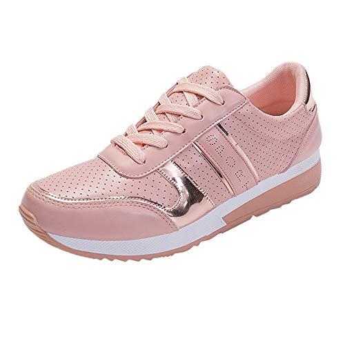 Dragon868 Sneakers Zeppa Donna Stivali Sportive Scarpe a Zeppa Lace-up Traspirante Scarpe Comode per Camminare