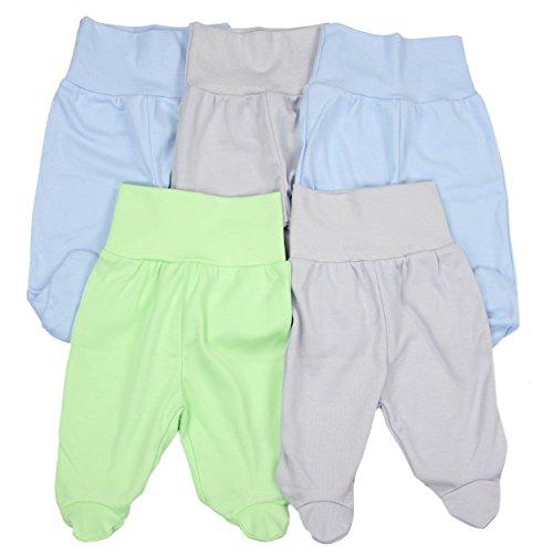 5er Set Baby Strampelhose Babyhose mit Fuß und breitem Bund Strampler Mädchen Stramplerhose Junge, Farbe: Junge, Größe: 62