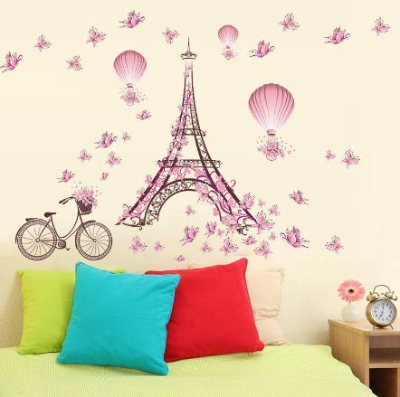 Romantic Eiffel Tower Wall Stickers Decals Living Room Bedroom Decoration Bicycle Flower Hot Air Balloon Wedding Decoration