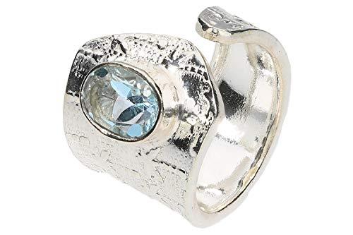 1001Kristall Ring Palme 5-16mm mit einem facettierten, blauen Topas-Oval, Sterlingsilber 925