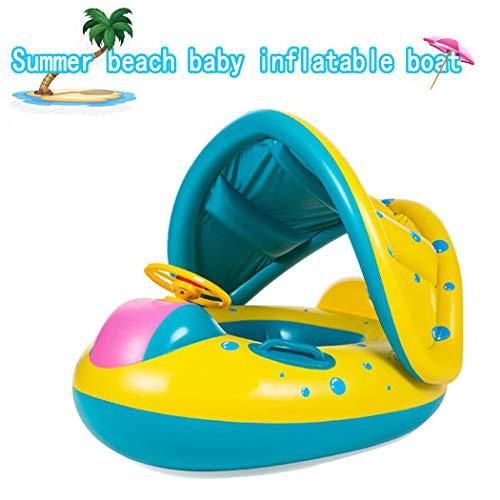 ZLFT Galleggiante per Piscina per Bambini, Anello Gonfiabile per Nuoto per Neonati con baldacchino e Corno, Rimovibile per tettuccio paraspruzzi Piscina