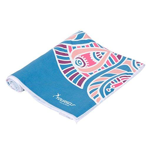 Syourself Serviette de yoga en microfibre-61cm x 183cm-Serviette de yoga Bikram anti-glissante, confortable, souple et super absorbant la sueur appropriée pour yoga, remise en forme, exercice, activités en plein air, le voyage+sac de voyage portable(EL nami)