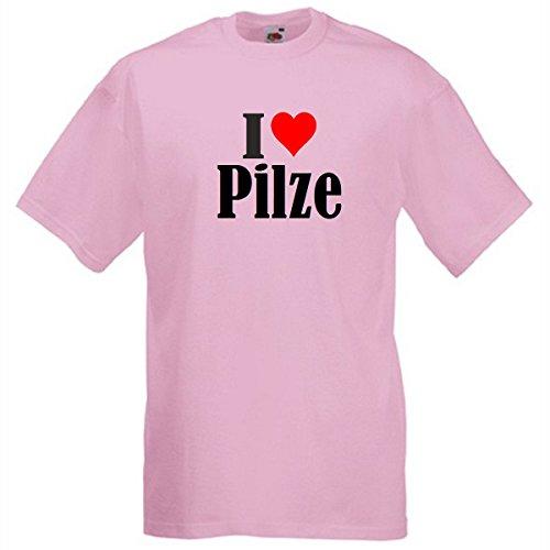 """T-Shirt """"I Love Pilze"""" für Damen Herren und Kinder in Pink Pink"""