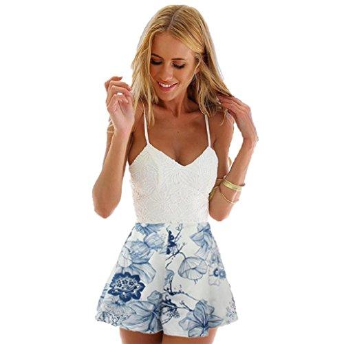 Internet Damen Kleid Lace Druck mit V-Ausschnitt Riemchen Jumpsuit Blau