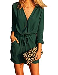 LILICAT Women Dress, Ladies Sexy V Neck Green Long Sleeve Chiffon Party Dress Evening Casual