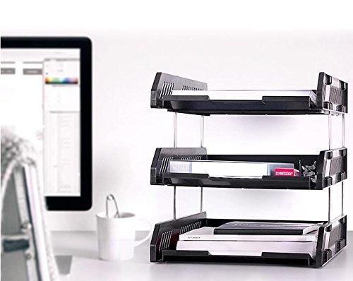 HETAO Aktenhalter Multi - Layer - Datei Rahmen Desktop - Datei Korb Informationsrahmen Bürobedarf , , three black 9209Einfach und stilvoll