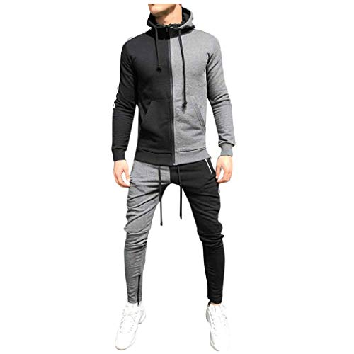 Epig Herren Nähte Hoodies Sets Zipper Top + Stretch Pants Sportanzug Trainingsanzug -
