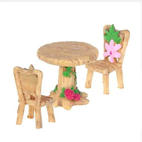 OSRAME Kreativer Schmuck Miniatur Harz Tisch Und Stühle Mikro Gartenpflanze Töpfe Bonsai...
