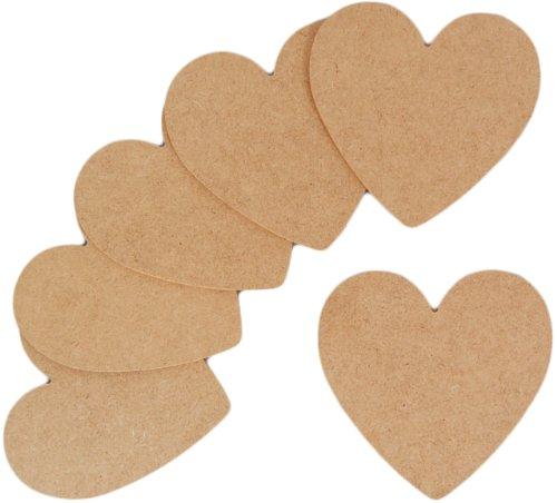 Country Love Crafts - Cuori in legno, piatti, non decorati, colore: marroncino