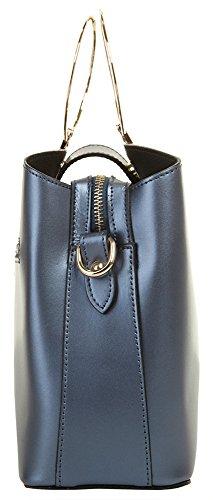 CLUTY Handtasche ECHT LEDER Damen Klein 019030 Blau