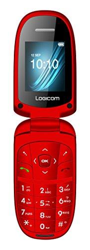 Logicom L-311 Téléphone débloqué 2G (Ecran: 1,77 pouces - Double SIM à clapet - Android) Rouge