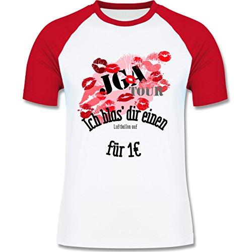 JGA Junggesellenabschied - JGA Tour - Ich blas dir einen Luftballon auf - zweifarbiges Baseballshirt für Männer Weiß/Rot