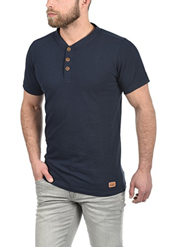 Redefined Rebel Mulligan Herren T-Shirt Kurzarm Shirt Grandad-Ausschnitt Aus 100% Baumwolle Navy