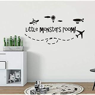 Knncch Boys Room Decor Aircraft Hot Air Balloon Vinyl Wall Sticker Little Monsters Room Wall Decal Kids Room Airplane Murals88X42Cm