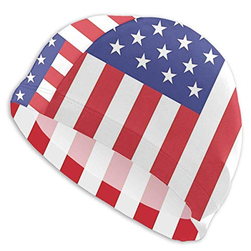 United Vertical Flag (Tyueu Men's Women's Swim Cap -Comfort Stretch Vertical United States Flag Swimming Cap Bathing and Shower Hair Cover for Long Thick Curly Hair One Size Fits Most Schwimmhaube)