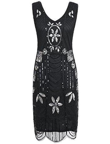 Kayamiya Damen Retro 1920er Perlen Pailletten Blatt Art Deco Gatsby Flapper Kleid S Schwarz (Silber Flapper Kleid)