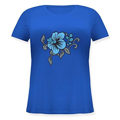 Blumen & Pflanzen - Blumen - Lockeres Damen-Shirt in großen Größen mit Rundhalsausschnitt Blau