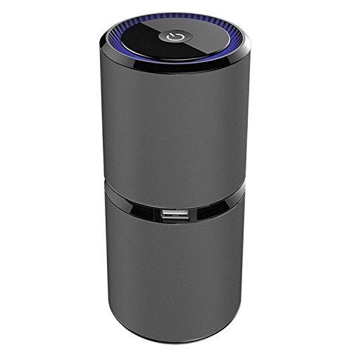 SYIN purificador de aire del coche, ambientador de Ionizer del aire del coche, escritorio purificador de aire portable Ionic quitar el cigarrillo del polvo del humo del olor con el adaptador dual del coche del USB (espacio negro)