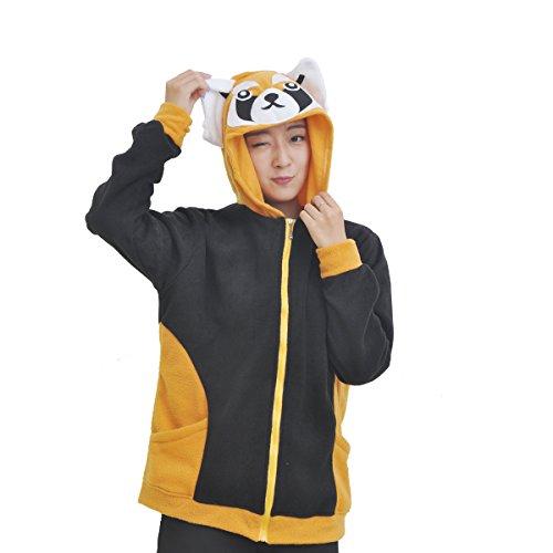 Casa Unisex Cartoon Jacke Pyjama Tieroutfit Seitentaschen Reißverschluss Mit Kapuze Tier Cosplay Sweatshirt Halloween Kostüm Hoodies Waschbär(S, Waschbär) (Waschbär-halloween-kostüm)